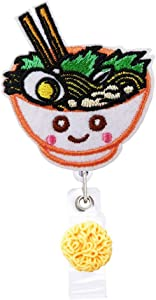 Japanese Noodle Ramen Food Badge Reels Retractable, with Alligator Clip and Key Ring, 24 inches Thick Pull Cord