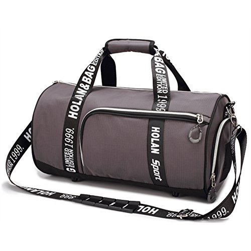 Price comparison product image BigBoss Sports Bag for Men Women Shoes Compartment Travel Duffel Bag (M, Grey)
