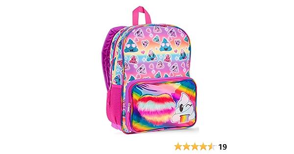 CCVVG1 Rainbow Smiling Poop Emoji Print School Bag for Toddler
