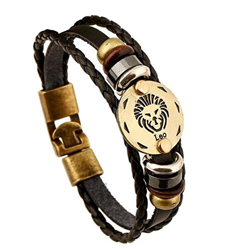 Shoppi 12 Constellations Multi-layer Leather Cuff Chain Lucky Charm Bracelet