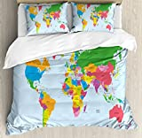 Map Queen Size Duvet Cover Set by Ambesonne, Classical Colorful Map of World in Political Style Travel Europe America Asia Africa, Decorative 3 Piece Bedding Set with 2 Pillow Shams, Multicolor