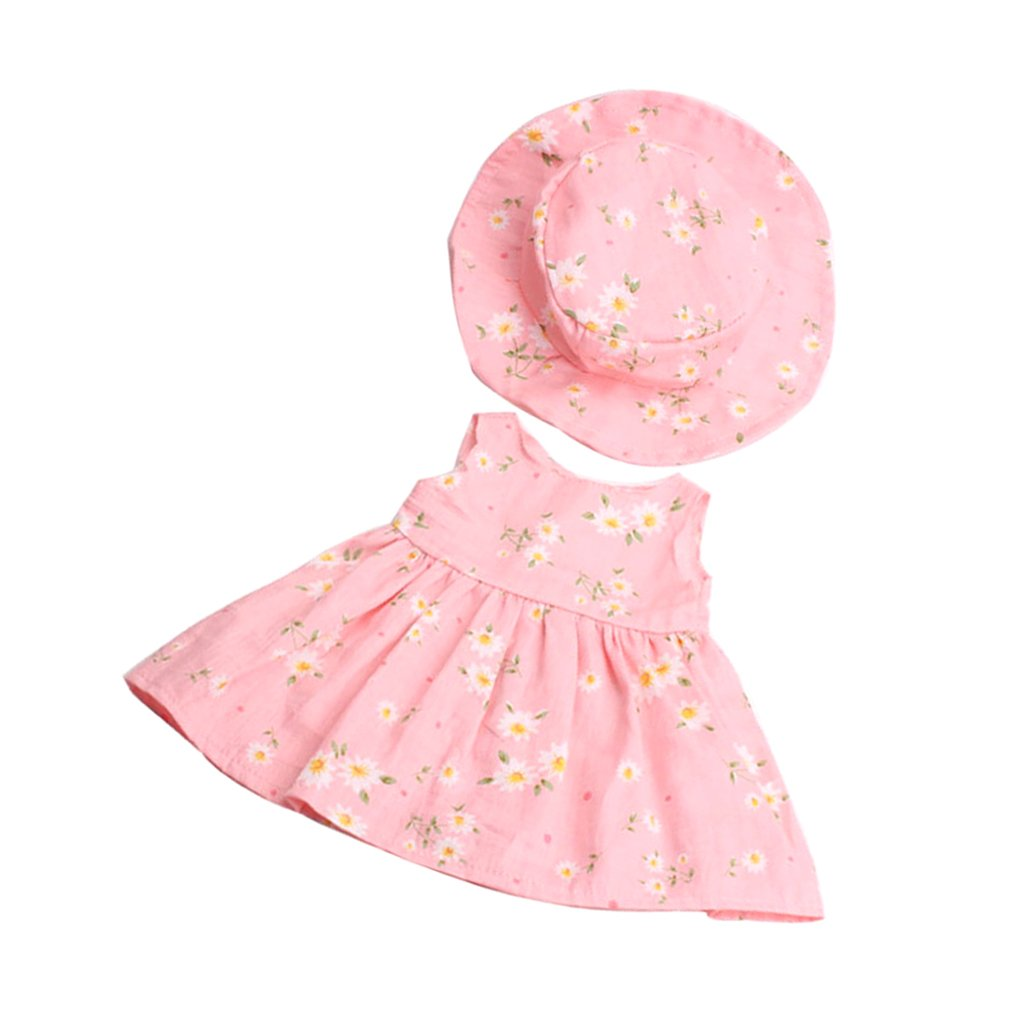 MonkeyJack 2pcs Fancy Clothes Outfit for 18inch American Girl My Life Zapf Baby Born Dolls Floral Dress Hat Set Pink