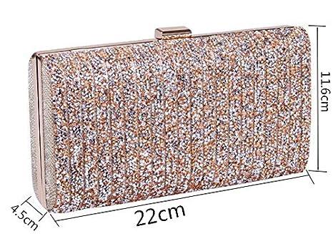 Wa Bolsas de embrague para mujer, bolso de noche, de piel, con bolsa, con brillantes, para fiestas, bodas, cumpleaños, regalo, pu, dorado, 22*4.5*11.6cm: ...