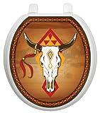 Toilet Tattoos TT-0007-R Southwest Cow Skull Decorative Applique For Toilet Lid, Round