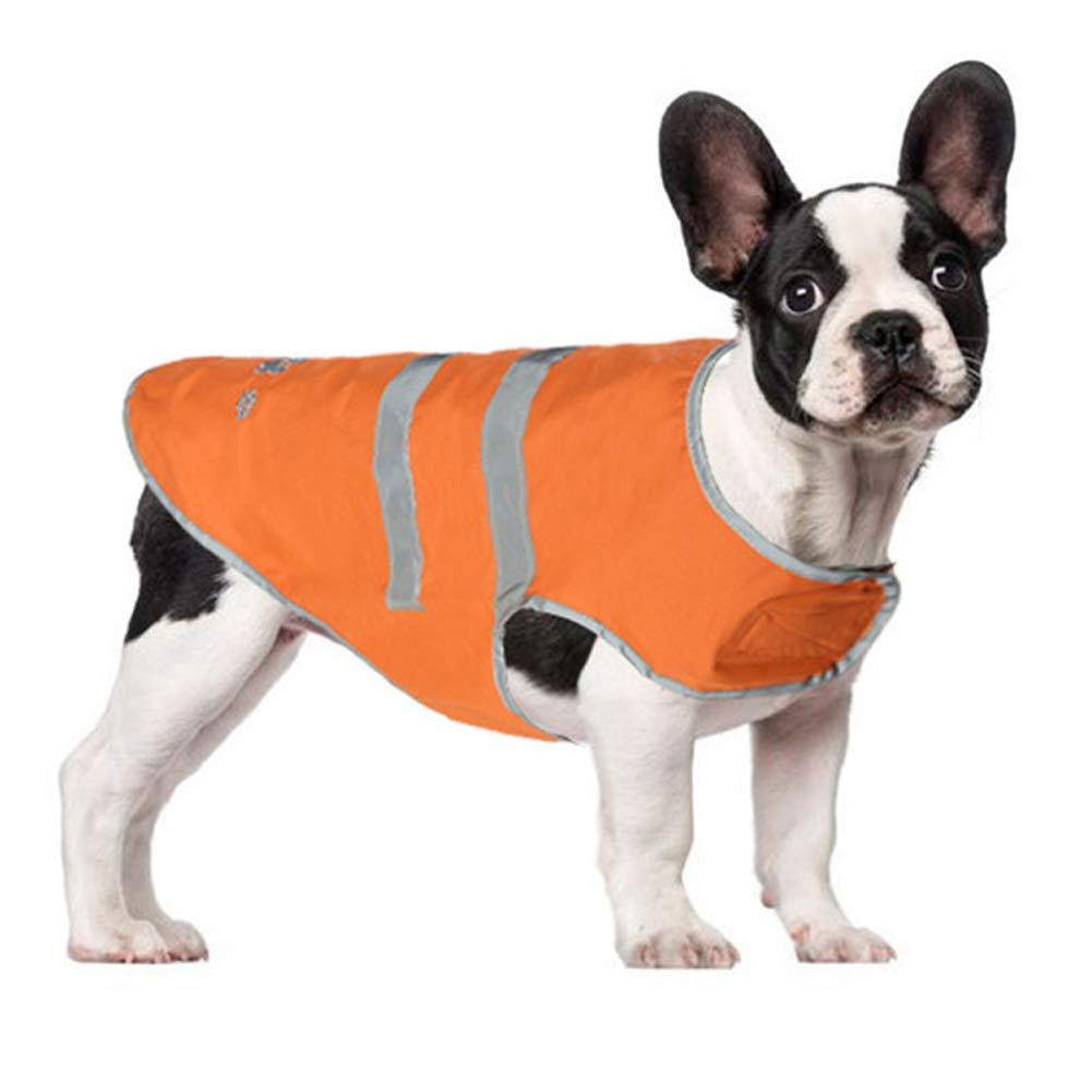 DirkFigge Outdoor Pet Rain Coat Reflective Stripes Rain Coat Pet Cats Dog Reflective Strip Raincoat Waterproof Snow-Proof Orange Dog Pet Rain Clothes