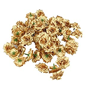 Tinksky Silk Rose Flower Heads for Hat Clothes Album Embellishment,Pack of 50 (Golden) 3