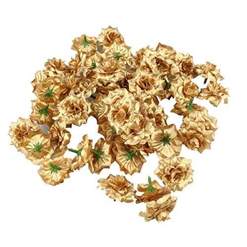 Golden Silk Cloth - Tinksky Silk Rose Flower Heads for Hat Clothes Album Embellishment,Pack of 50 (Golden)