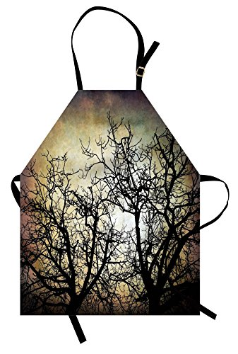Ambesonne Horror Apron, Scary Twilight Scene with Grunge Tree Branch Silhouette Over Dirty Night Sky Image, Unisex Kitchen Bib Apron with Adjustable Neck for Cooking Baking Gardening, Sepia Black