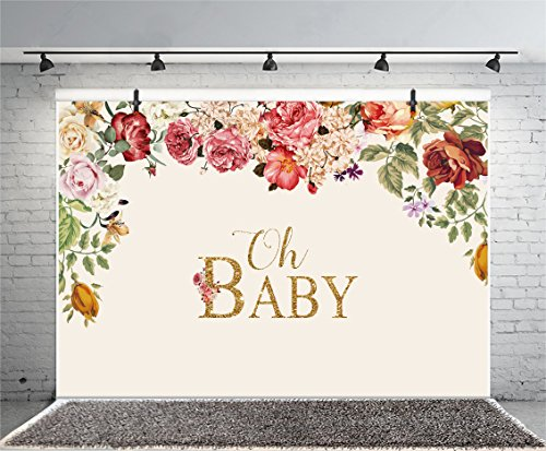 Leyiyi 10x8ft Photography Backdrop Baby Shower Background Pregnant Celebration Oh Baby Character Flowers Garland Dessert Table Decor Happy Birthday Banner Photo Portrait Vinyl Studio Video Prop ()