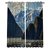 ZOE STORE Blackout Window Curtains for Kitchen, Snowberg Glacier Melting Floating 2 Panel Window Treatments/Drape for Kids Room/Living Room/Cafe/Bedroom, 104W x 63L inch