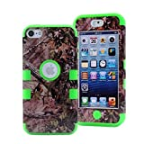 iPod Touch 5 Case, iPod Touch 6 Case, L00KLY 3 in 1 Hybrid Shockproof High Impact Camouflage Hunting Tree Forest Protective [Hard PC+Soft Silicone] Case for Apple iPod Touch 5 6th Generation (Green)