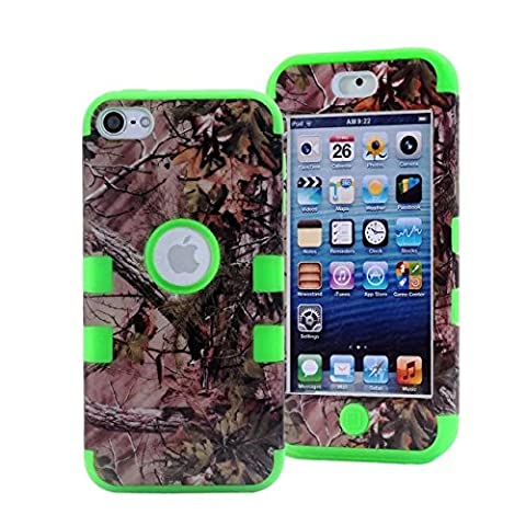 iPod Touch 5 Case,iPod Touch 6 Case, LOOKLY 3 in 1 Hybrid Shockproof High Impact Camouflage Hunting Tree Forest Protective [Hard PC+Soft Silicone] Case For Apple iPod touch 5 6th Generation (Real Tree Camo Case For Ipod 5)