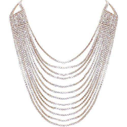 Humble Chic Layered Statement Necklace - Darling Waterfall Simulated Diamond CZ Crystal Multi-Chain Bib