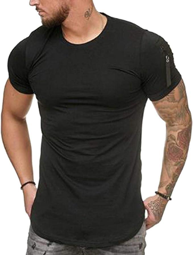 Mens Short Sleeve Muscle Tee T-shirt Bodybuilding Running Sports Gym Shirts LA