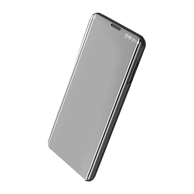 Funda para Samsung Galaxy A70 Carcasa Espejo Mirror Flip Caso Ultra Delgada Protector Shock Absorbing Caja del Teléfono Translucent Window View