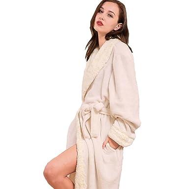 moxin Mens Fleece Robe, Bathrobe Dressing Gown, Ladies Coral Fleece ...