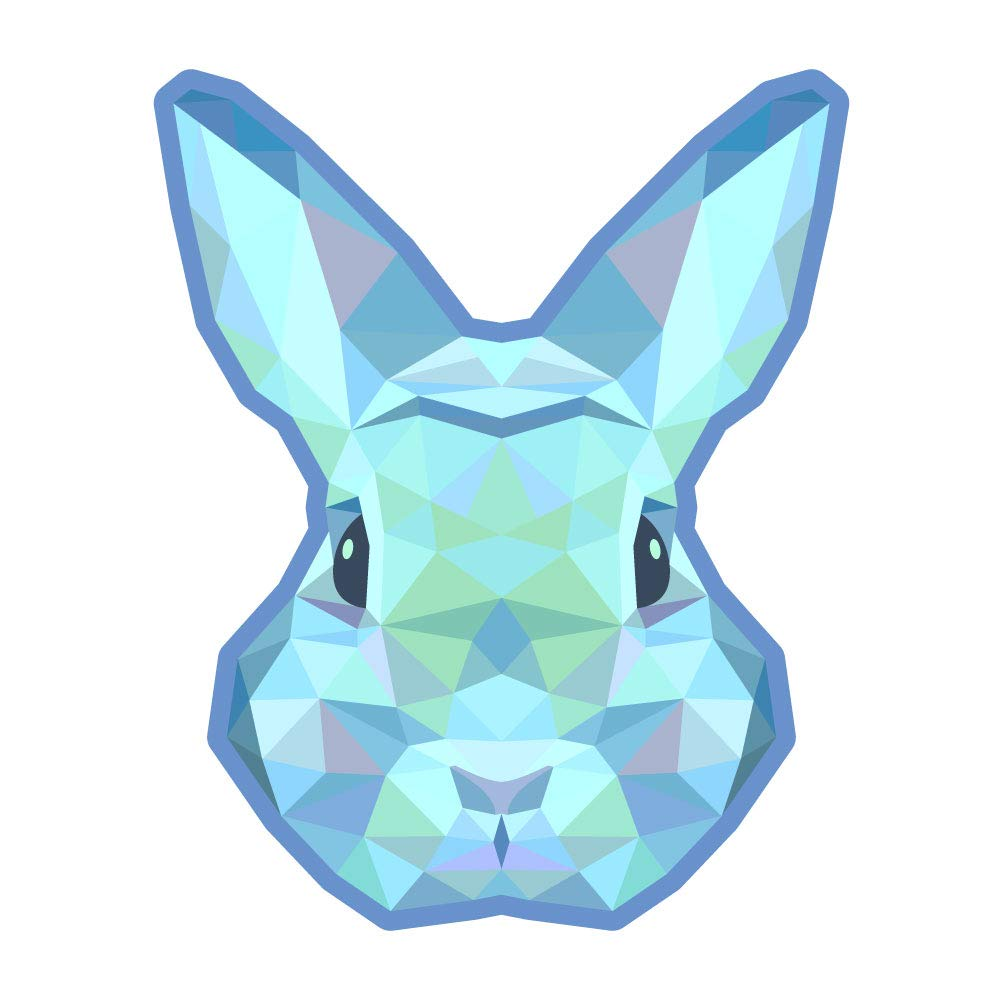 5 Inch Full Color Vinyl Decal for Indoor or Outdoor use Dark Spark Decals Low Poly Geometrical Brown Rabbit D/écor Windows and More Cars Laptops