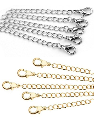 Necklace Extenders 6 Pack of Gold & Silver Tone Lobster Clasp extensions for necklaces and (Necklaces Bracelets)