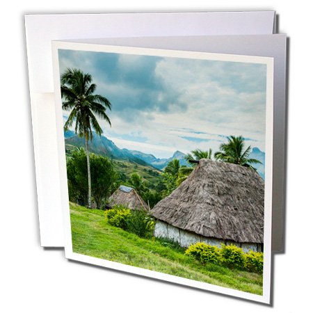 3dRose Danita Delimont - Fiji - Thatched roofed huts in Navala, the Ba Highlands of Viti Levu, Fiji - 12 Greeting Cards with envelopes (gc_250337_2) (In Hut Village)