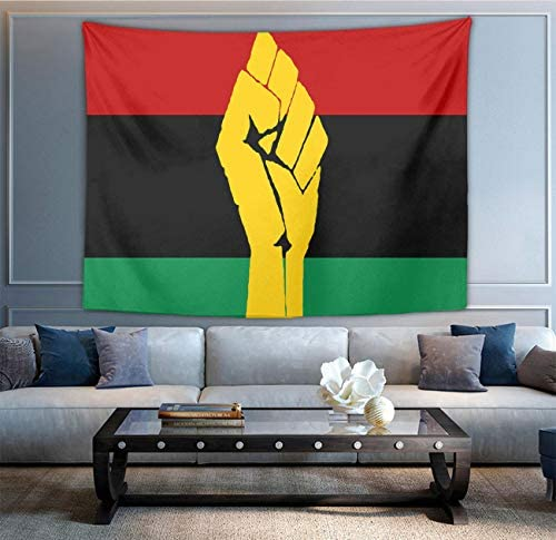 NiYoung Fashion Multi-Purpose Tapestry Wall Tapestry Wall Hanging Tapestries with Black Power Pan African Flag for Living Room Bedroom Dorm Home Decor, 60 x 90 Inches