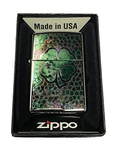 Zippo-Custom-Lighter-Lucky-Four-4-Leaf-Clover-Fusion-High-Polish-Chrome