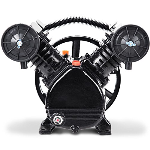 (Goplus 3HP 2 Piston V Style Twin Cylinder Air Compressor Head Pump (Black))