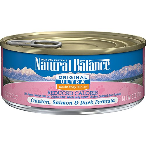 Natural Balance Original Ultra Whole Body Health Reduced Calorie Wet Cat Food, Chicken, Salmon & Duck Formula, 6-Ounce Can (Pack Of 24) (Pack Food Calories)