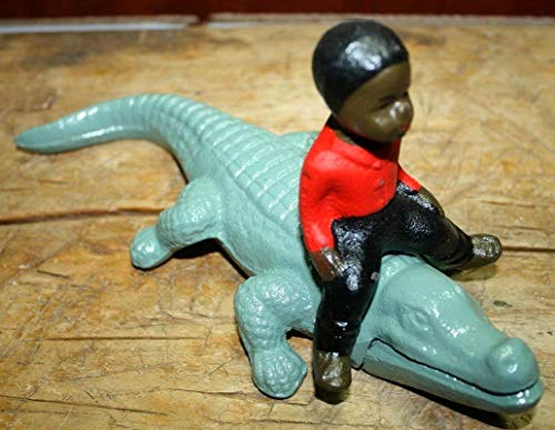 - Antique Style Black Boy Riding Alligator Southern Americana Gator Vintage Cast Iron Supplies for Home Decor by CharmingSS
