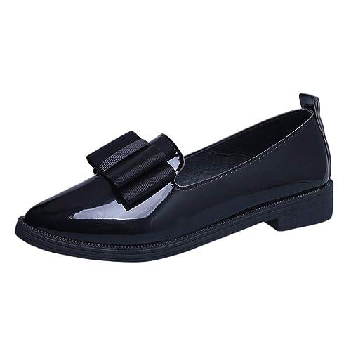 Tenthree Zapatos Moda Mujer Mocasines - Ballet Retro Puntiagudos Bombas Arcos Cuero Clásico Pisos Burdeos Casual Zapatos Planos: Amazon.es: Zapatos y ...