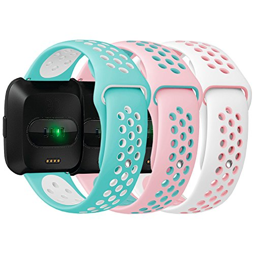 Antemart Compatible Fitbit Versa Bands, Replacement Silicone Sport Band Bracelet Strap with Ventilation Holes Compatible with 2018 Fitbit Versa Smart Watch,Design for Women Men Boys ()