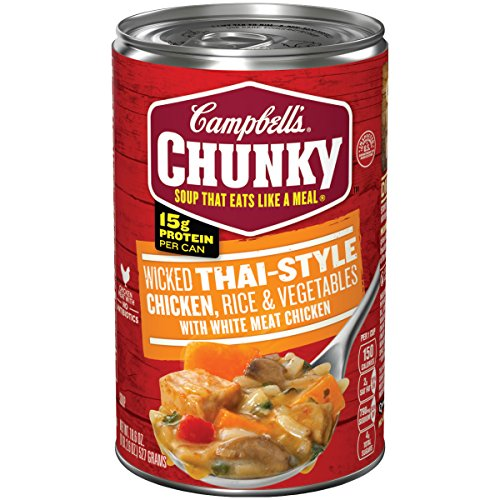 Campbell's Chunky Soup, Wicked Thai-Style Chicken with Rice & Vegetables, 18.6 Ounce (Pack of 12) (Packaging May Vary) Chunky Chicken Soup
