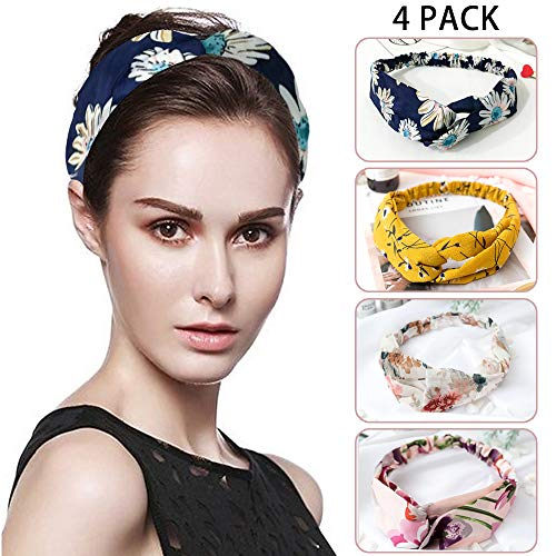 Moolida Head Band, Sports Hair Band, Cross Fabric Head Band, Washing Hair Band, Bohemian Floral Style, 4Pack Women's Hair Accessories
