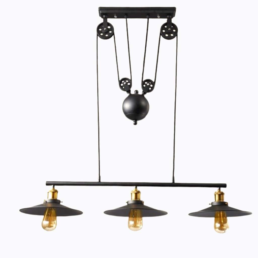 Candelabros industriales vintage Polea 3 Lámpara colgante de luz ...