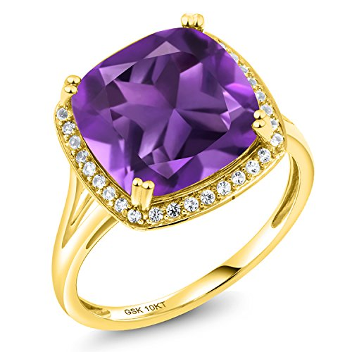 Gem Stone King 6.74 Ct Cushion Purple Amethyst White Diamond 10K Yellow Gold Ring Available 5,6,7,8,9