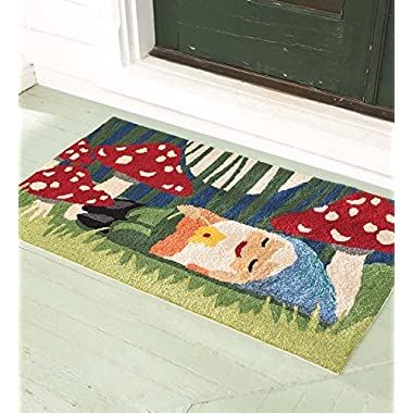 Indoor/Outdoor Sleepy Head Gnome Accent Rug