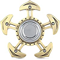 Emob 5 Leaves Vintage Anchor Brass Metal Fidget Hand Spinner Toy with Long Spinning Time, Gold
