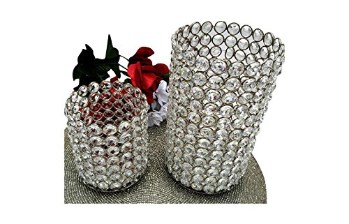 GARIAN Silver finish Glass Crystal Cylinders Candle Holder Votive Pillars, Set of 2 ()