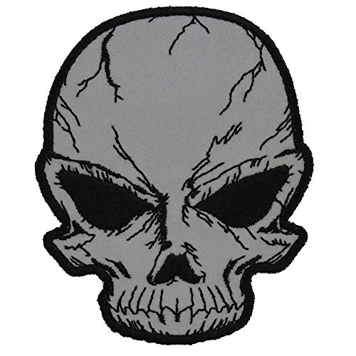 Reflective Small Cracked Skull Patch - 3x3.75 inch. Embroidered Iron on -