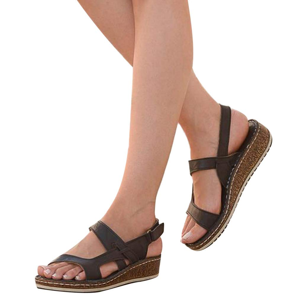 Cenglings Women's Casual Open Toe Wedge Sandals Summer Hollow Out Platform Slingback Buckle Sandals Beach Roman Shoes Black by Cenglings