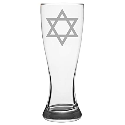 Adult Bar Mitzvah Gift Jewish Star of David Gifts Ideas Pilsner Beer Pub Glass Mug Laser