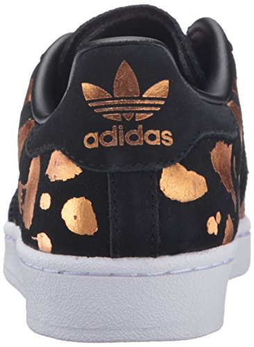 adidas Originals Damen Superstar W Fashion Sneaker Schwarz / Schwarz / Leichtes Kupfer Metallic S12