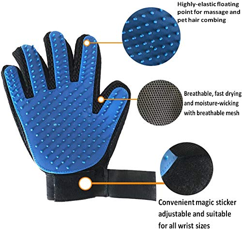 WEUSMAY Pet Grooming Gloves Gentle Washing Deshedding Massage Brush Hair Remover Pet Mitt Perfect for Dogs & Cats with Long & Short Fur – 1 Pair