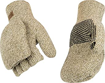 Kinco 5210 Alyeska Ragg Wool Lined Half Finger Glove with PVC Dots, Work, X-Large, Tan (Pack of 6 Pairs)