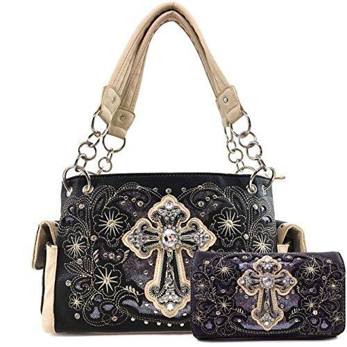 Justin West Embroidery Floral Glitter Bling Rhinestone Cross Shoulder Concealed Carry Handbag Purse Trifold Wallet (Black Handbag and Wallet) Black Tri Fold Handbag