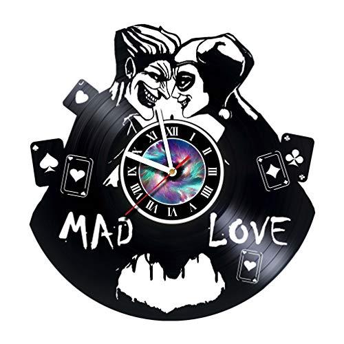 Joker Clock - KravchArt Joker & Harley Quinn - Vinyl Record Wall Clock - Get Unique Gifts Presents for Birthday, Christmas, Ideas for Boys, Girls, Men, Women, Adults, him and her - Unique Design