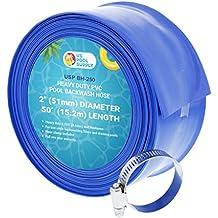 "U.S. Pool Supply 2"" x 50' Heavy Duty Blue PVC Swimming Pool Backwash Hose with Hose Clamp"