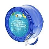 U.S. Pool Supply 2' x 50' Heavy Duty Blue PVC Swimming Pool Backwash Hose with Hose Clamp