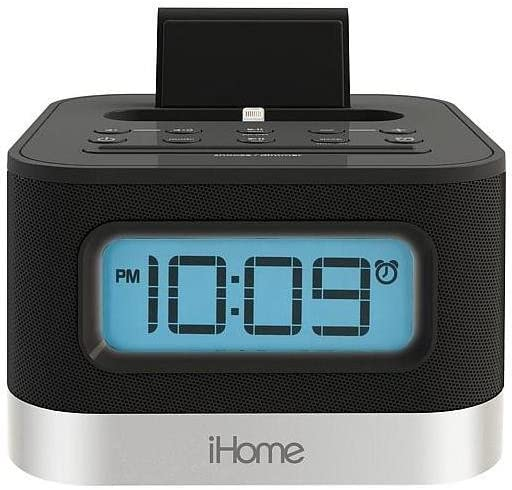 iHome Dual Alarm FM Clock Radio with Lightning Dock for iPhone with USB Charging, Black (Non-Retail Packaging)