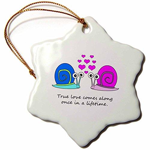 Janna Salak Designs True Love Comes Along Once in a Lifetime Cute Snail Design Snowflake Porcelain Ornament, -