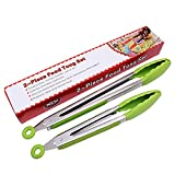 Scomfy Silicone Kitchen Tongs Stainless Steel, Set of 2,Food Tongs - None Stick, Heat Resistant - Cooking Tongs, Serving Tongs, Salad, Frying, BBQ Tongs(Green)